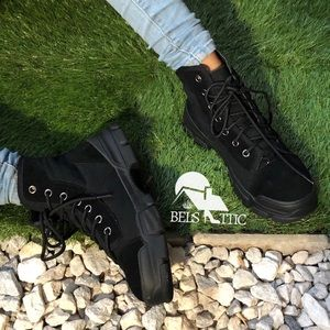 Black Lace Up High Top Sneaker Ankle Bootie